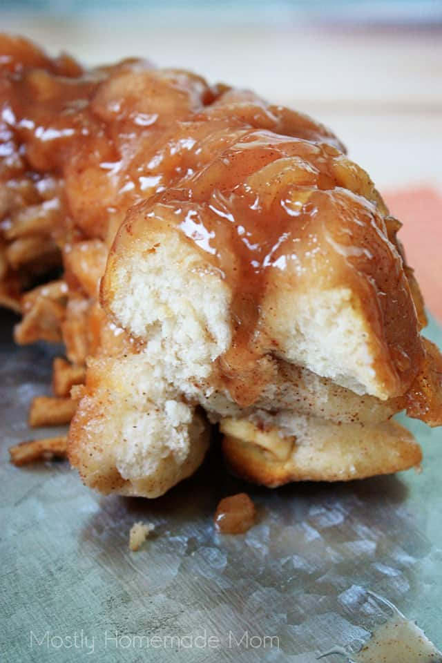 The inside of apple pie monkey bread on a platter