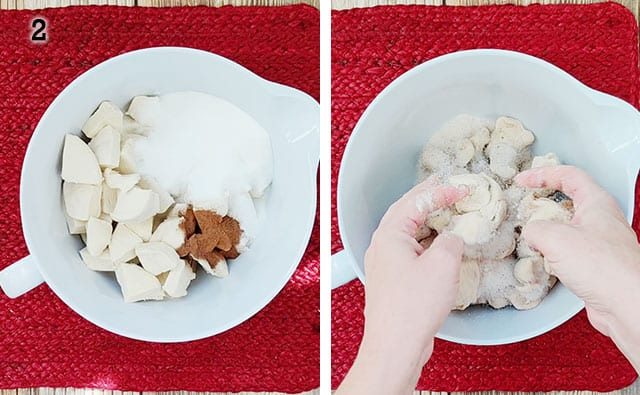 Mixing sugar and apple pie spice to biscuits in a white mixing bowl
