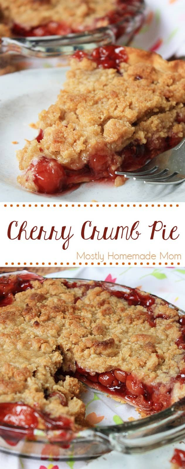 Cherry Crumb Pie - Cherry pie filling with almond extract topped with a homemade crumb topping and baked until bubbling - perfect pie year round!