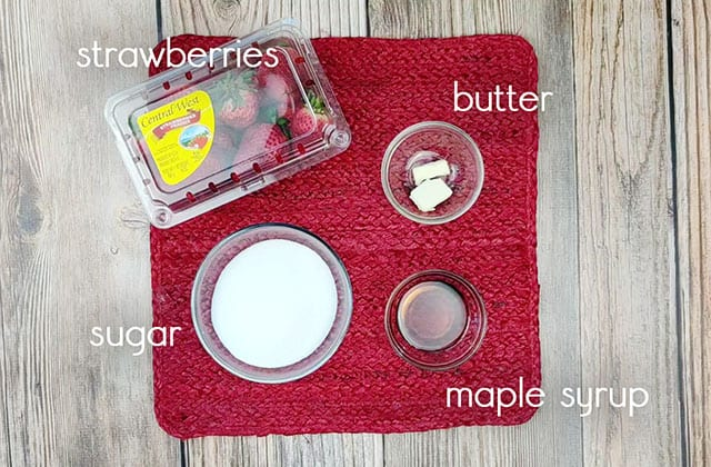 Ingredients to make homemade strawberry syrup