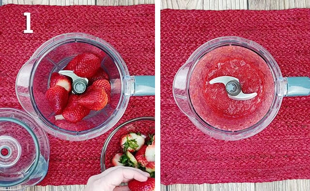 Blending strawberries in a blender