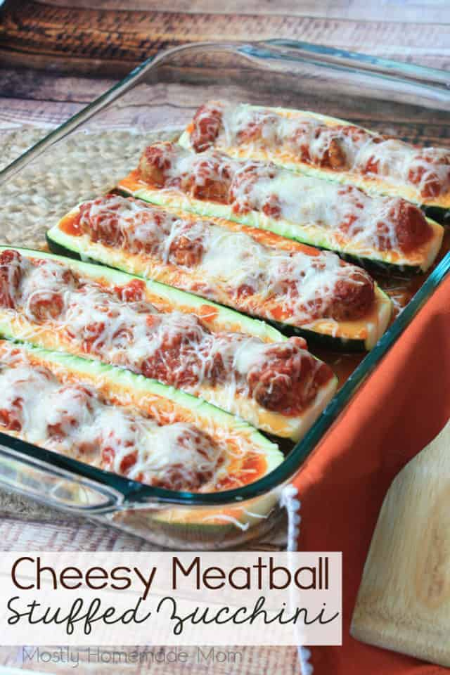 Cheesy Meatball Stuffed Zucchini
