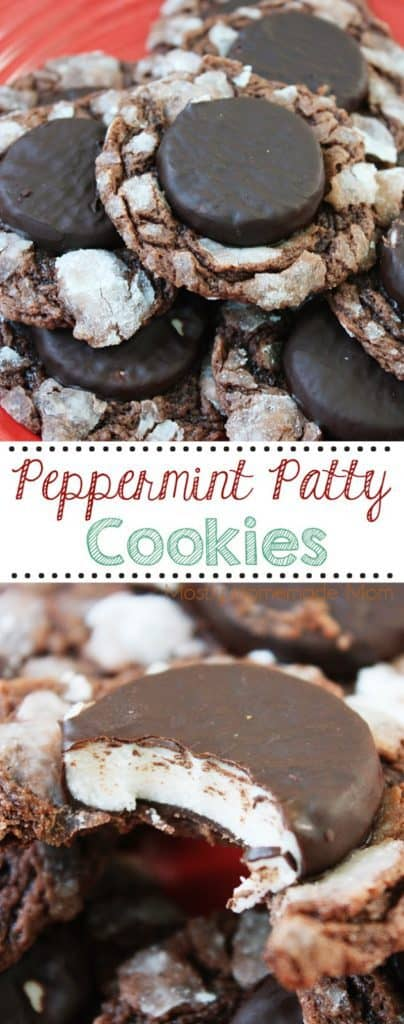 These Best Easy Peppermint Patty Cookies are a MUST MAKE this holiday! Whole York Peppermint Patties pressed into chocolate cookie dough and dusted with powdered sugar! #peppermint #patty #cookies #cookiesrecipe #holidayrecipes #dessert #snacks