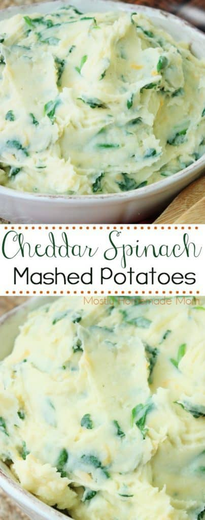 Cheddar Spinach Mashed Potatoes