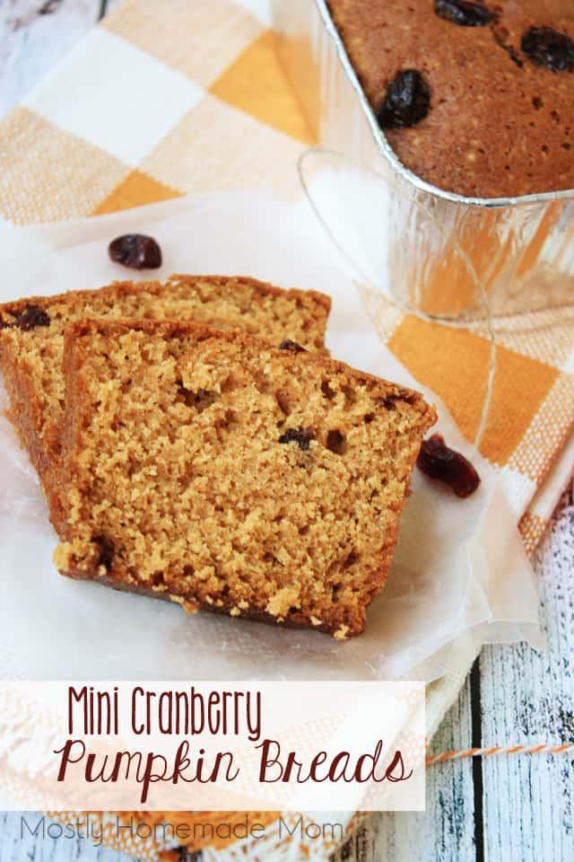 Mini Cranberry Pumpkin Breads