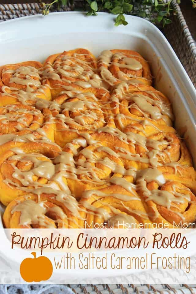 Pumpkin Cinnamon Rolls with Salted Caramel Frosting