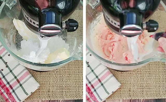 Butter and powdered sugar being mixed in a stand mixer