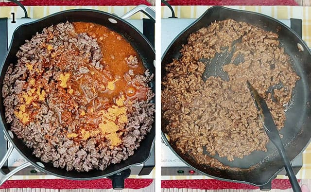 Cooking taco meat in a skillet