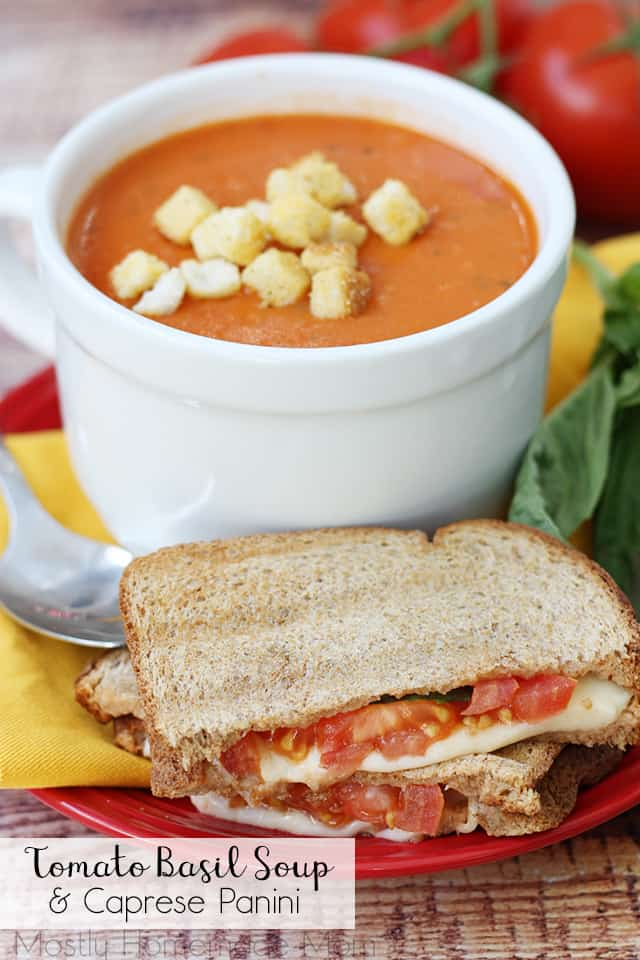 Tomato Basil Soup and Caprese Panini