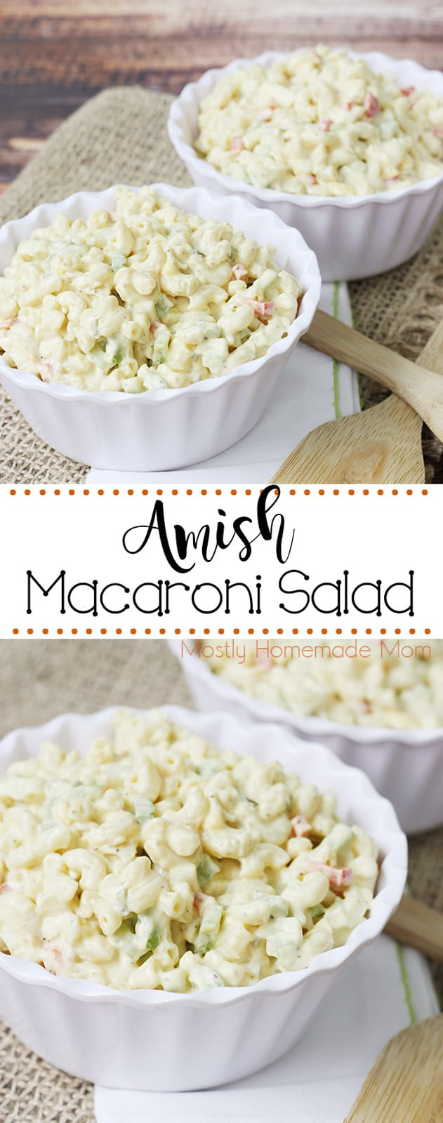 This Amish Macaroni Salad is great with sandwiches and cookouts! Macaroni noodles in a sweet dressing with peppers and onions - yum!