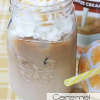 Caramel Iced Latte with Dunkin Donuts creamer in background