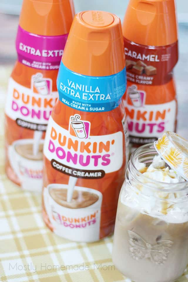 Three varieties of Dunkin Donuts creamers