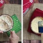 Stirring the ingredients before and after baking
