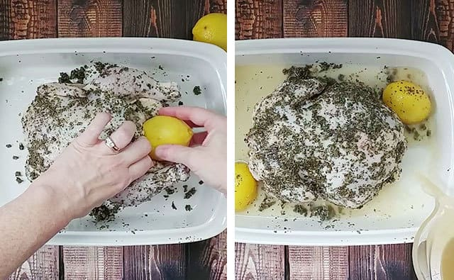 Placing lemon inside chicken and pouring chicken broth into baking dish