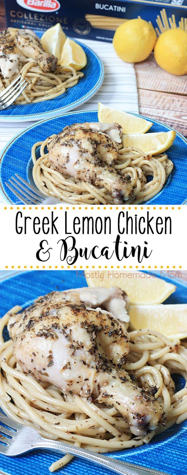 Greek Lemon Chicken seasoned with oregano, basil, garlic, and olive oil and served over delicious bucatini pasta! #greeklemonchicken #dinner #recipe #chicken