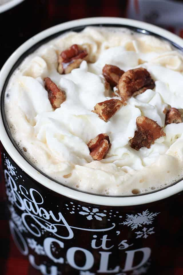 A close up shot of pecan pie coffee in a mug