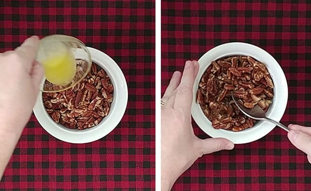 Mixing pecans, brown sugar, and butter in a bowl