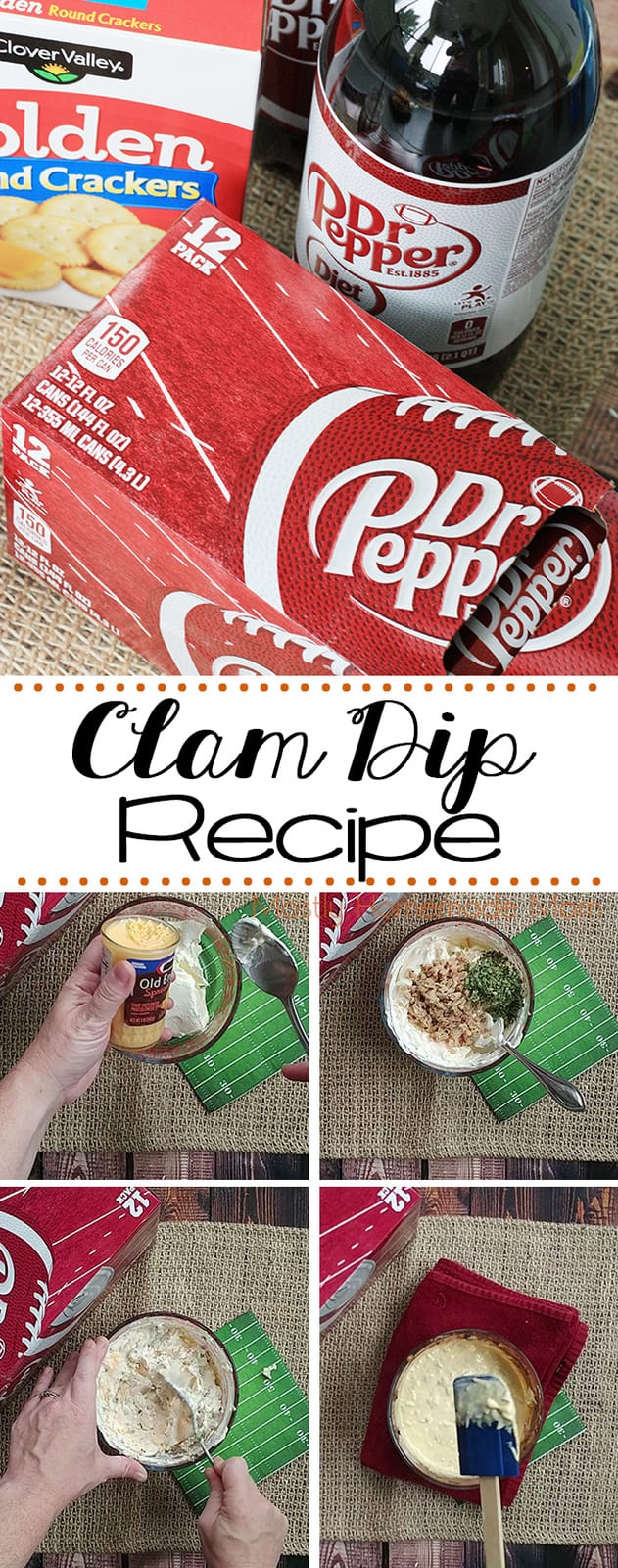 This easy Clam Dip recipe has just four ingredients! Cream cheese, sharp cheddar, minced clams, and chives. Perfect for your next football party!  #mydollargeneralwin #ad #recipe #clamdip #appetizer
