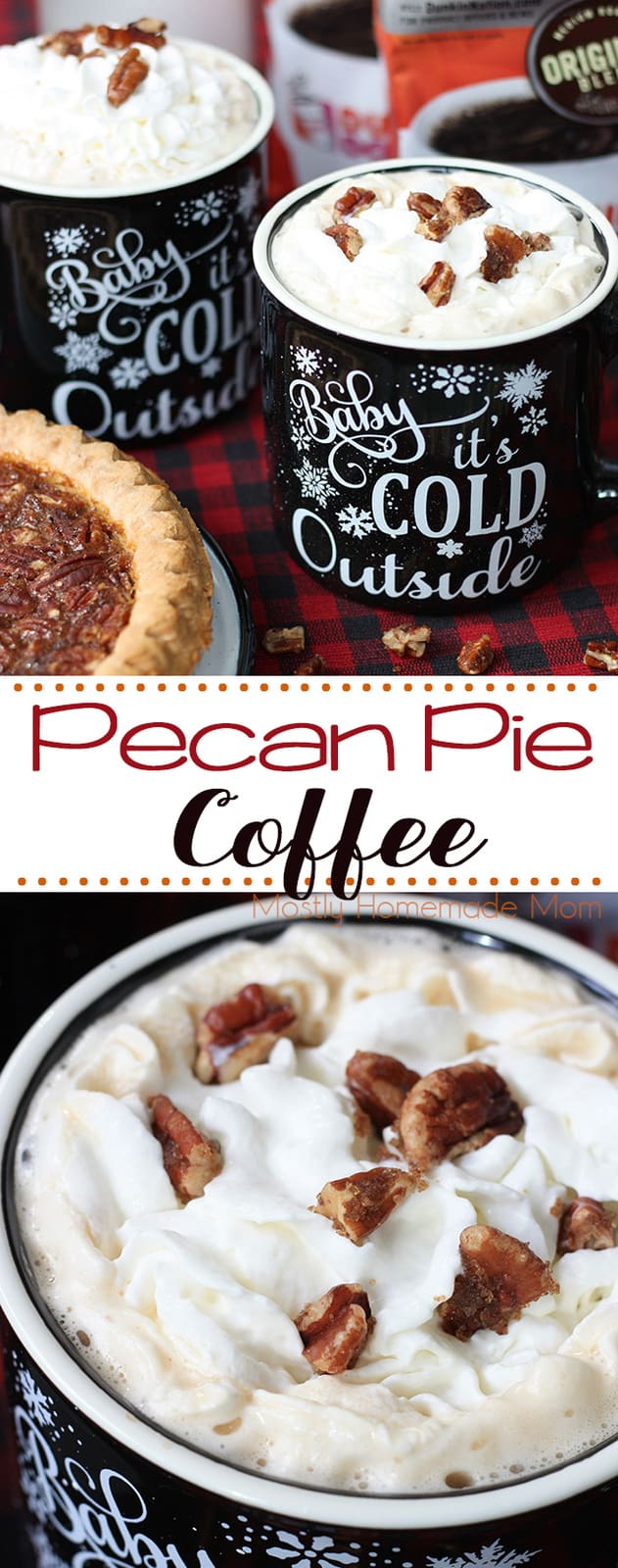 Pecan Pie Coffee - SO wonderful during the holidays! Brewed coffee with maple extract, hazelnut creamer, whipped cream, and candied pecans! #coffee #pecanpie #Thanksgiving #Christmas #drinks #recipe