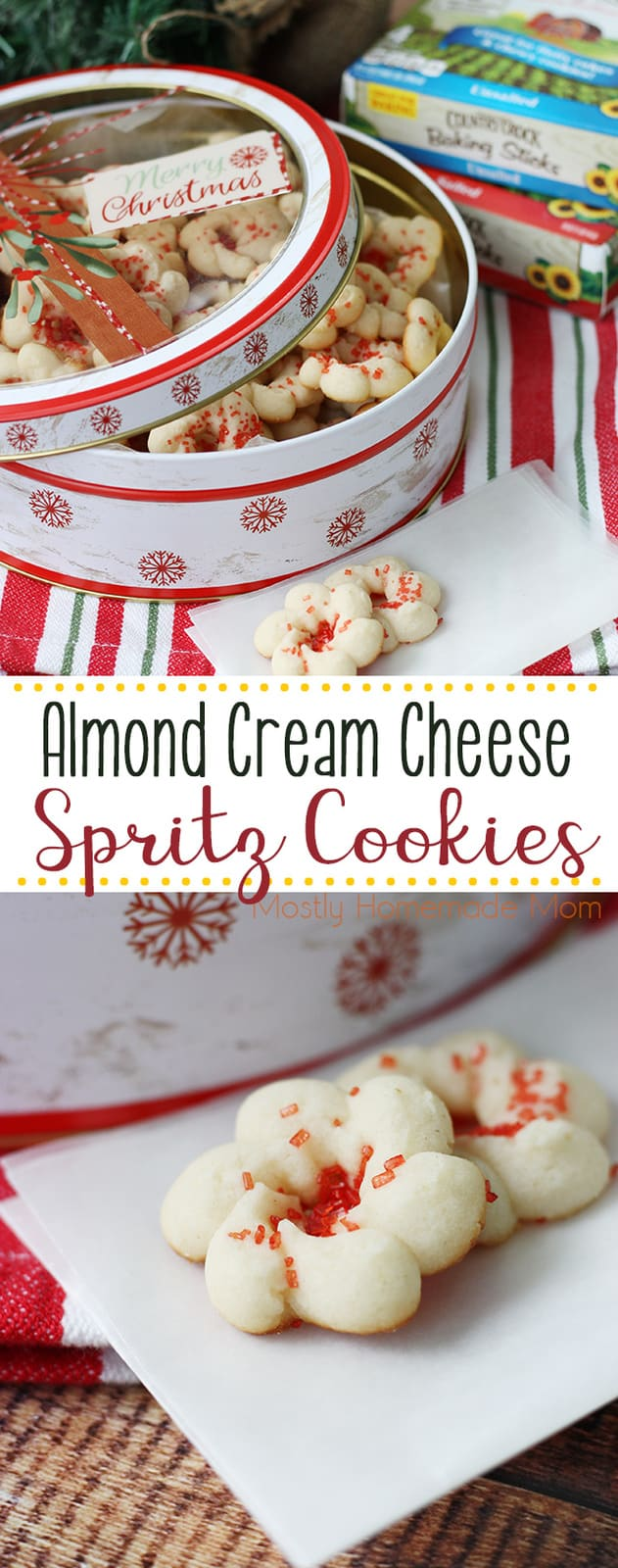Almond Cream Cheese Spritz Cookies - perfect for cookie trays! Simple shortbread dough with rich cream cheese make these cookies irresistible! #christmascookies #spritzcookies #recipe #dessert