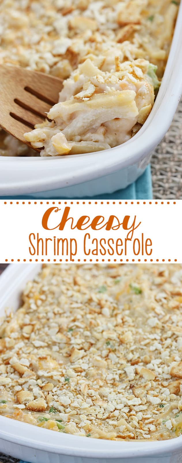 Cheesy Shrimp Casserole is the perfect dinner for a chilly night! Egg noodles and tiny shrimp in a creamy sauce - the entire family will love this one for sure!