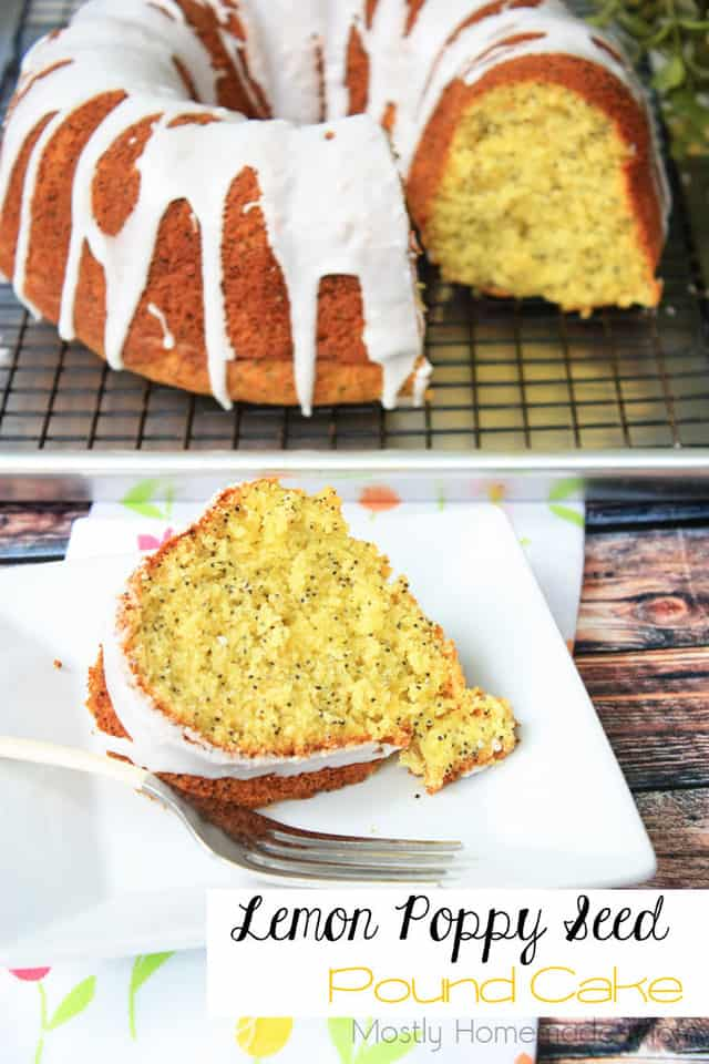 Lemon poppy seed pound cake slice with the whole cake in the background