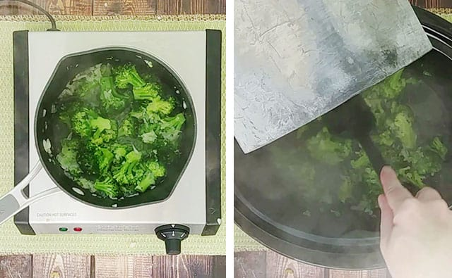 Broccoli in a saucepan and then transferring to a Crockpot