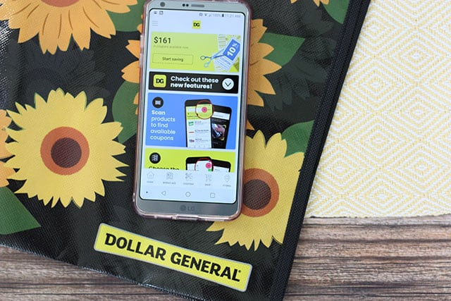 A cell phone with the Dollar General app downloaded