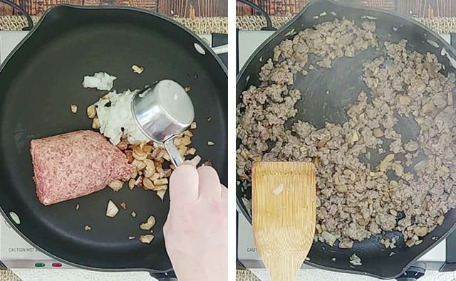 Cooking sausage and onions in a skillet