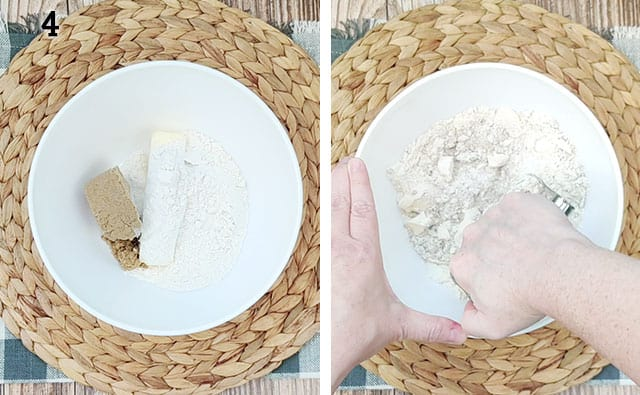 Making the crumb topping for the pie in a small white bowl