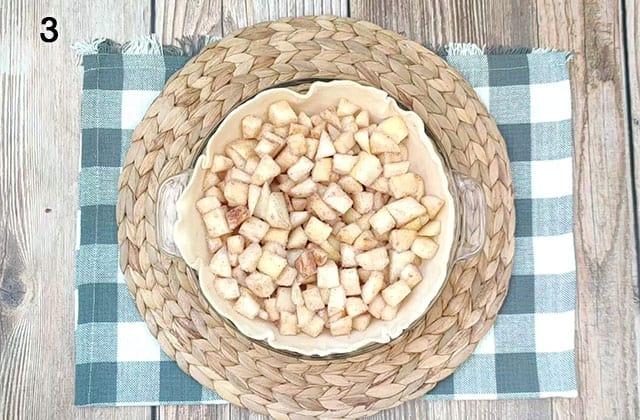 Pear pie filling in a pie crust