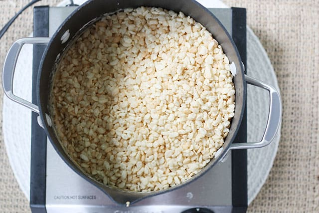 Rice Krispies in a large pot on a stove top