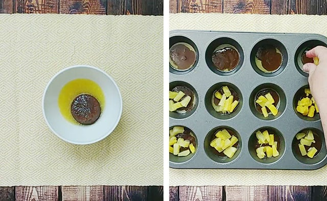 Mixing brown sugar and butter in a white bowl, then adding pineapple tidbits to a muffin tin