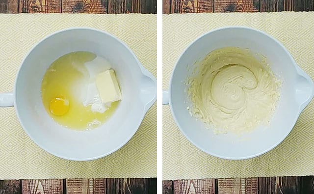 Beating batter in a white mixing bowl on a yellow placemat