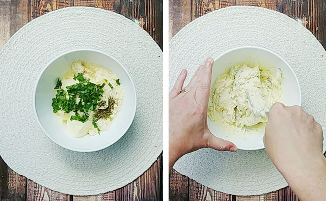 Mixing garlic bread spread in a white bowl with a fork