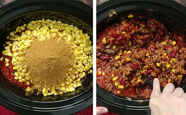 Ingredients for chili in a crockpot