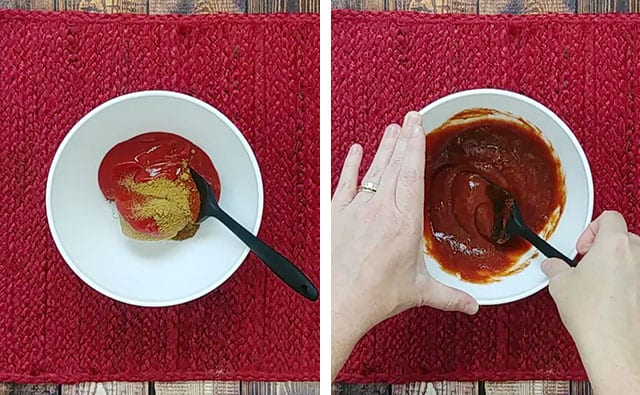 Mixing the baked bean sauce using a black spatula in a white bowl