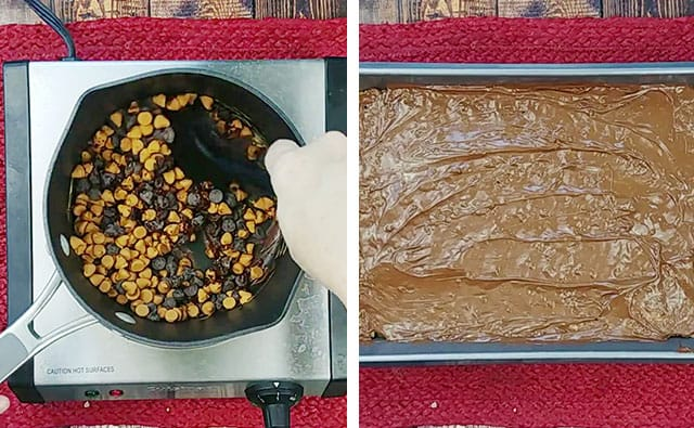 Melting chocolate and butterscotch chips and then spreading onto rice krispie treats in pan