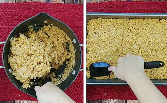 Stirring rice krispies into the pot and then pressing treats into a baking pan