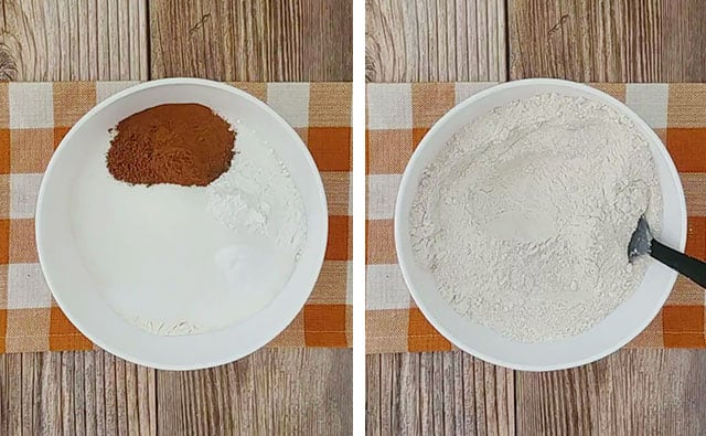 Mixing dry ingredients for pumpkin bread in a white bowl