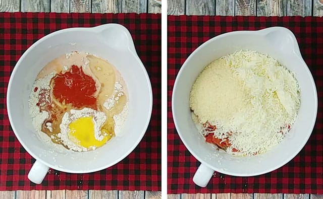 Adding pizza muffin batter ingredients in a white mixing bowl