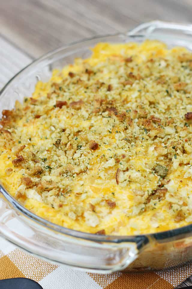 Butternut squash casserole in a glass baking dish