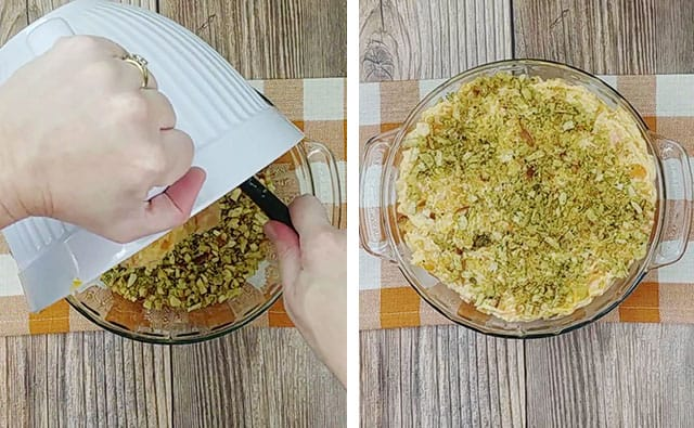 Layering the stuffing mix and the butternut squash mix in a glass baking dish