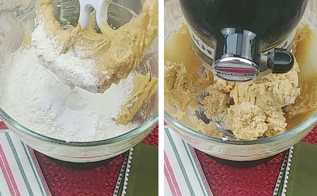 Adding in flour, baking soda, and salt to peanut butter cookie dough in a stand mixer