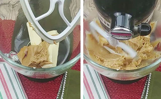 Mixing peanut butter, softened butter, and vanilla in a stand mixer