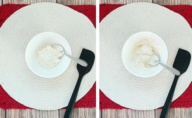 Mixing mayonnaise and dry ranch dressing mix in a small white bowl