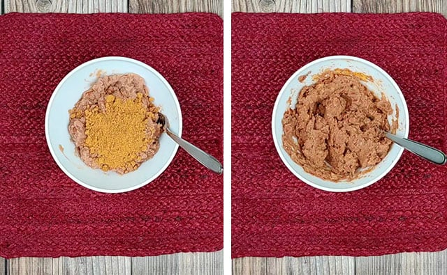 Mixing refried beans and taco seasoning in a bowl with a fork