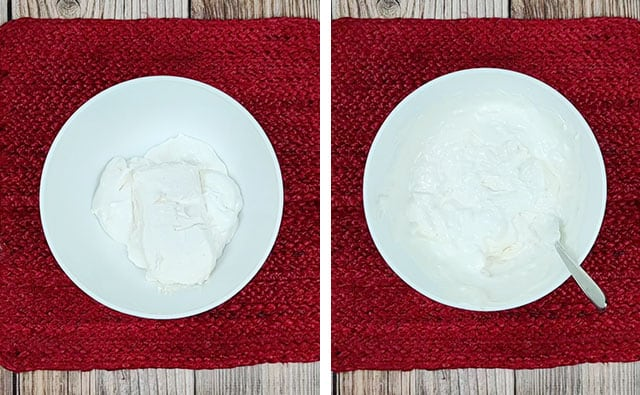 Mixing together sour cream and cream cheese in a white bowl