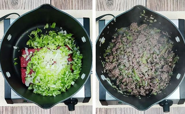 Browning ground beef, onion, and celery in a pot on the stovetop
