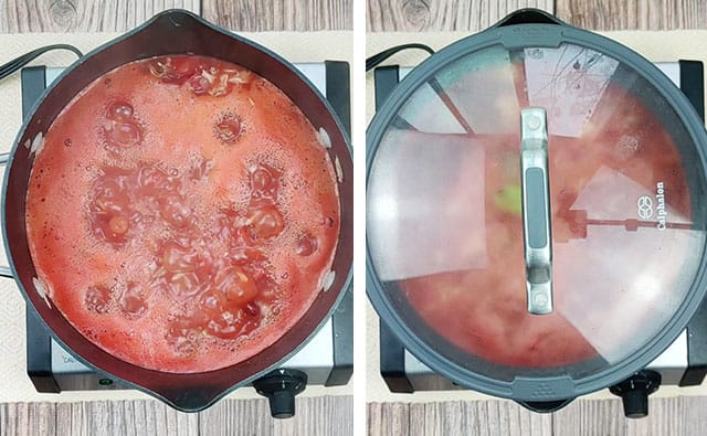 Bringing hamburger soup recipe to a boil in a pot, then covering and simmering